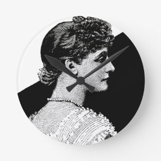 Vintage Woman Round Clock