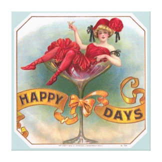 Vintage Woman Sitting in Champagne Glass Canvas Prints