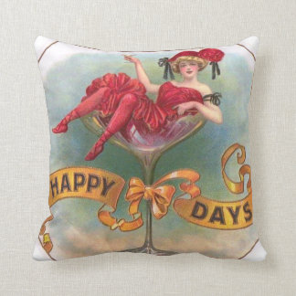 Vintage Woman Sitting in Champagne Glass Pillow
