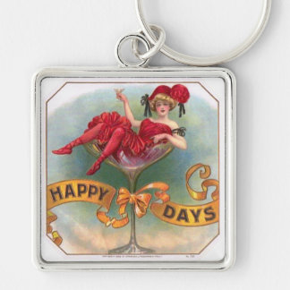 Vintage Woman Sitting in Champagne Glass Key Ring