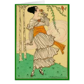 Vintage Woman Smelling Flower Greeting Card