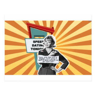Vintage Woman Speed Dating Too Much Baggage Postcard