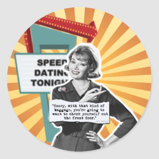 Vintage Woman Speed Dating Too Much Baggage Sticker
