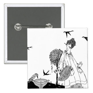 Vintage Woman with Bird Bath and Swallows 15 Cm Square Badge