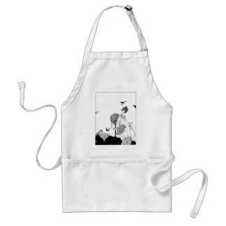 Vintage Woman with Bird Bath and Swallows Standard Apron