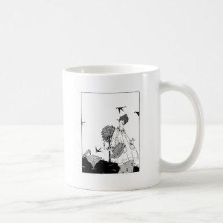 Vintage Woman with Bird Bath and Swallows Basic White Mug