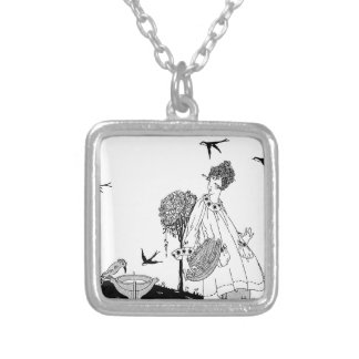 Vintage Woman with Bird Bath and Swallows Square Pendant Necklace