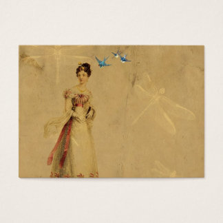 Vintage Woman with Birds and Dragonflies
