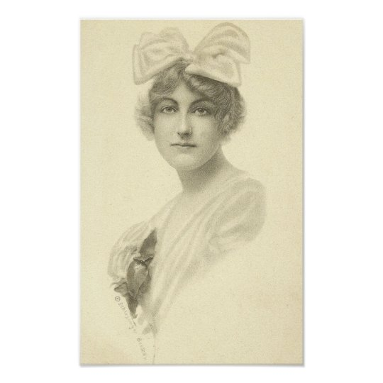Vintage Woman With Bow Poster