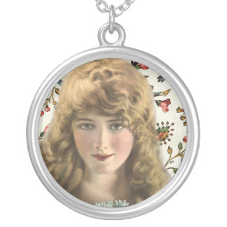 Vintage Woman with Calico Floral Pattern Necklaces