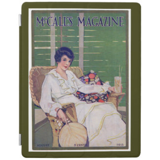 Vintage Woman with Drink in Summer Magazine Cover iPad Cover