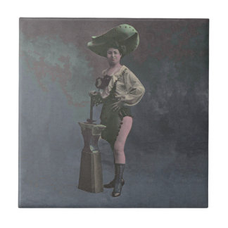 Vintage woman with hammer and anvil tile