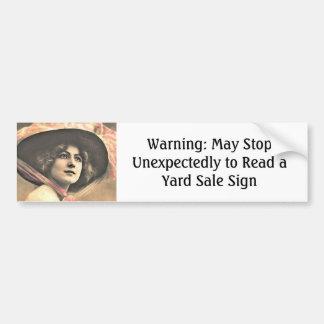 Vintage Woman with Hat Bumper Sticker