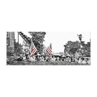 Vintage Women Circa 1910 Patriotic American Flag Canvas Print