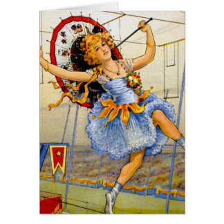 Vintage Women Circus Performer High Wire Card