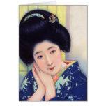 Vintage Women Japanese Beautiful Geisha Girl Greeting Card