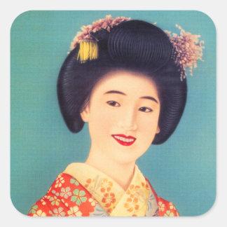 Vintage Women Japanese Beautiful Geisha Woman Square Sticker