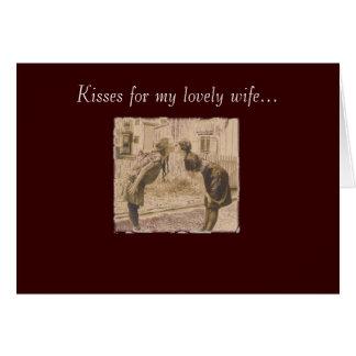 vintage women kissing card