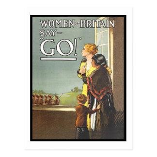 Vintage Women of Britain Say Go Recruitment Poster Postcard