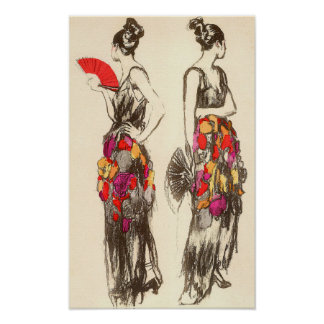 Vintage Women of Fashion with Spring Dresses Poster