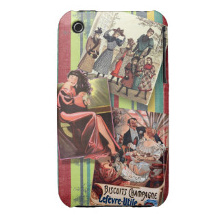 Vintage women on retro stripes iPhone 3 cover
