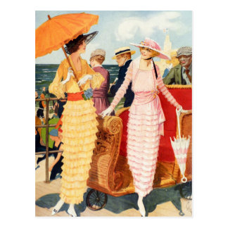 Vintage Women Woman 20s Boardwalk Ladies Postcard
