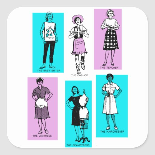 Vintage Women Woman Sixties Occupations Suburbs Square Stickers