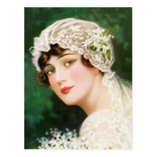 Vintage Women Woman Wedding Veil Postcard