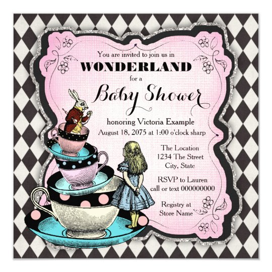 vintage wonderland baby shower card | zazzle, Baby shower invitations