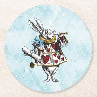 Vintage Wonderland White Rabbit Round Paper Coaster