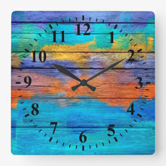 Vintage Wood Abstract Painting #4 Square Wall Clock
