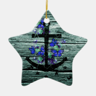 Vintage Wood & Black Anchor With Blue Butterflies Christmas Ornament