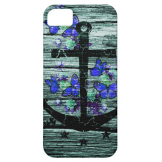 Vintage Wood & Black Anchor With Blue Butterflies iPhone 5 Case