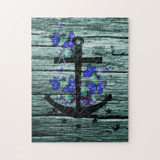 Vintage Wood & Black Anchor With Blue Butterflies Jigsaw Puzzle