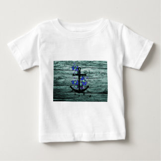 Vintage Wood & Black Anchor With Blue Butterflies T-shirt