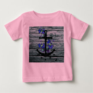 Vintage Wood & Black Anchor With Blue Butterflies Tee Shirt