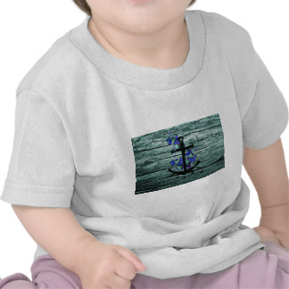 Vintage Wood & Black Anchor With Blue Butterflies Shirts