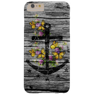 Vintage Wood & Black Anchor With Yellow Butterfly Barely There iPhone 6 Plus Case