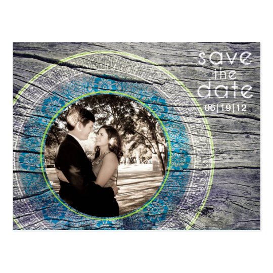 Vintage Wood - Custom Save the Date - Lime + Teal Postcard