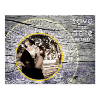 Vintage Wood - Custom Save the Date - White + Gold Postcard