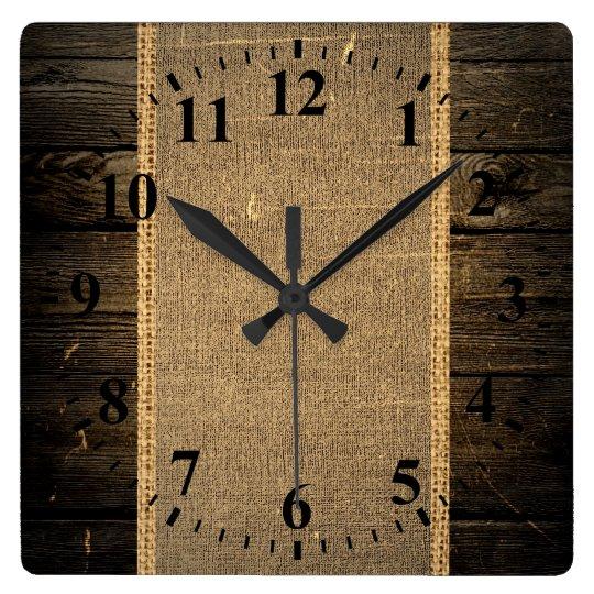 Vintage Wood Look Burlap Rustic Square Wall Clock