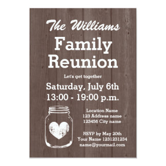 Vintage Wood Mason Jar Family Reunion Invitations  Invitation For A Get Together