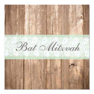 Vintage Wood Shabby Chic Bat Mitzvah Invitation