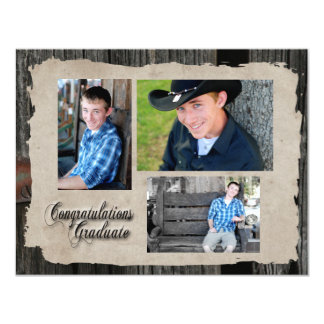 Vintage Wood Three Photo Graduation Announcement