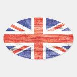 Vintage Wood Union Jack British(UK) Flag Oval Sticker