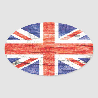 Vintage Wood Union Jack British(UK) Flag Oval Sticker