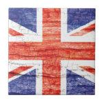Vintage Wood Union Jack British(UK) Flag Small Square Tile