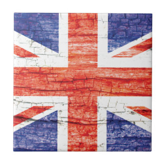 Vintage Wood Union Jack British(UK) Flag Small Square Tile