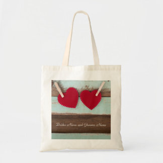 Vintage Wood with Red Hearts Tote