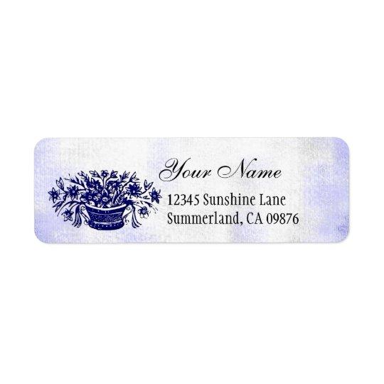 Vintage Woodcut Blue Flowers Custom Address Label